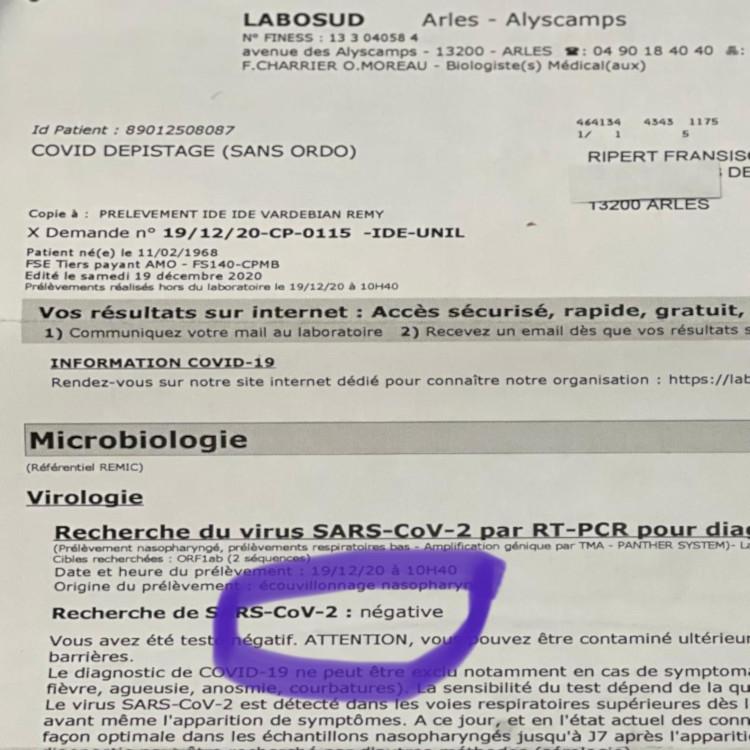 Hasil laporan tes PCR/SWAB yang menggembirakan