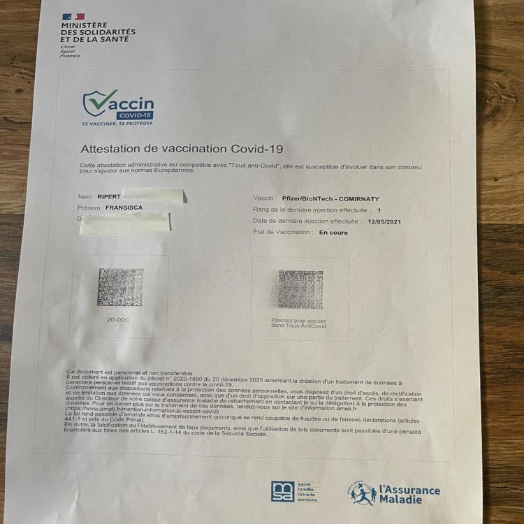 Surat Keterangan telah divaksin Pfizer-BioNTech dosis pertama